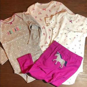 Carters unicorn owl hearts adorable set